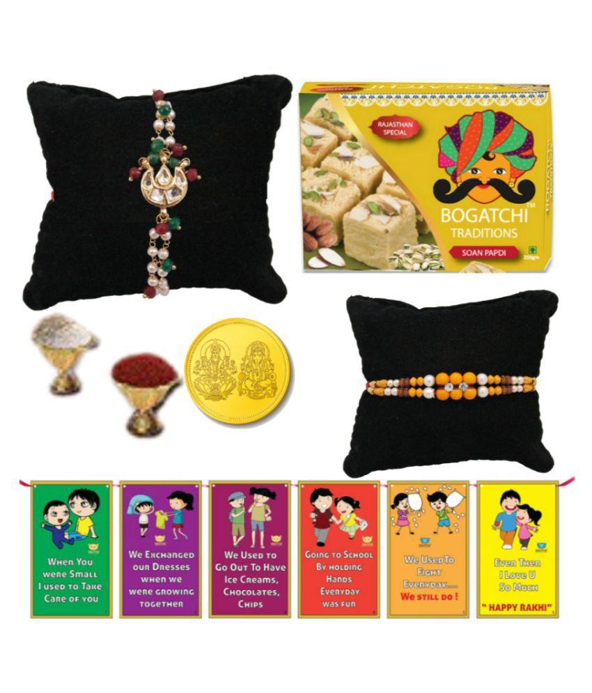 BOGATCHI Assorted Box Rakhi for Brother Rakhi with Sweets 200 gm