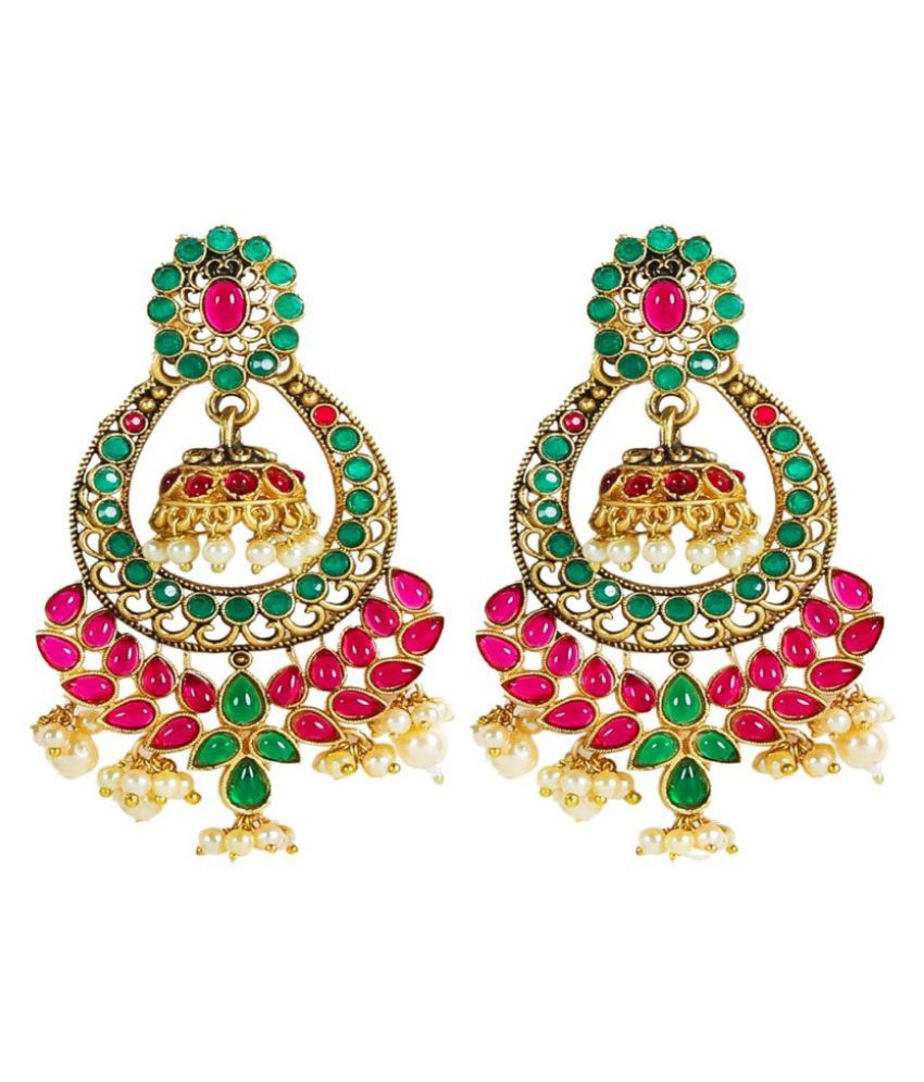 OOMPH Jewellery Red & Green Kemp Stone South Indian Jhumka Earrings for Women & Girls