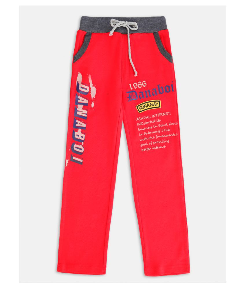 Danaboi Boy's Red Cotton Blend Solid Mid-Rise Track Pant