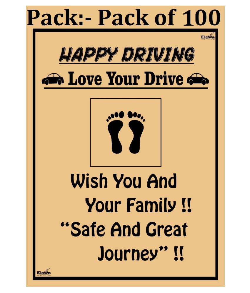 EleWa Wish You and Your Family, Safe and Great Journey Printed Paper Car Floor Mats/ Sheets (Pack of 100, Brown)