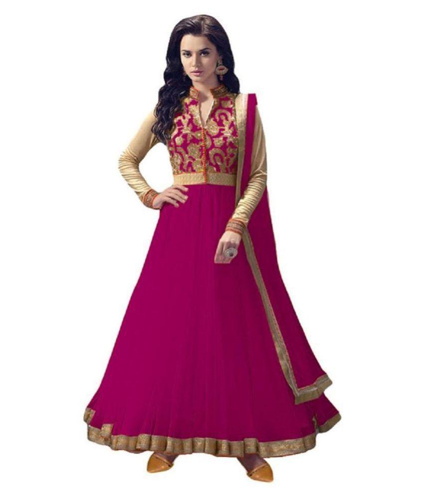 FASHION KREZA Pink Net Anarkali Semi-Stitched Suit -