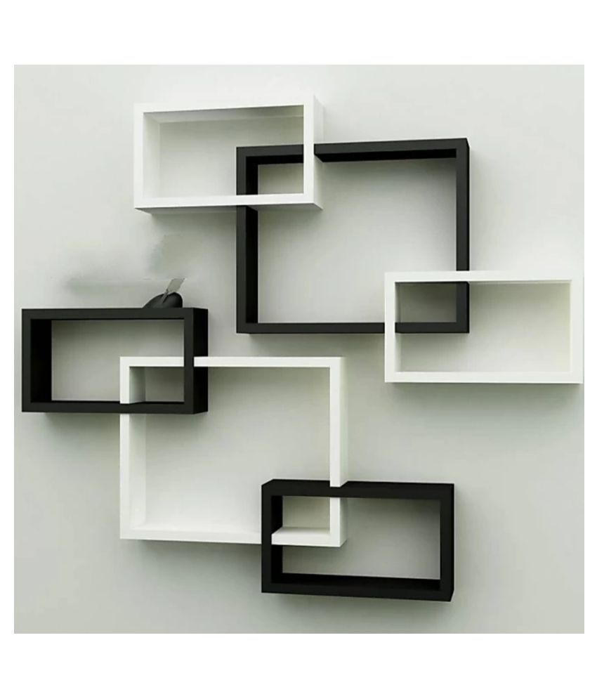 TFS Wall Mount Intersecting Wall Shelves Set of 6 Display Unit MDF(Black White)