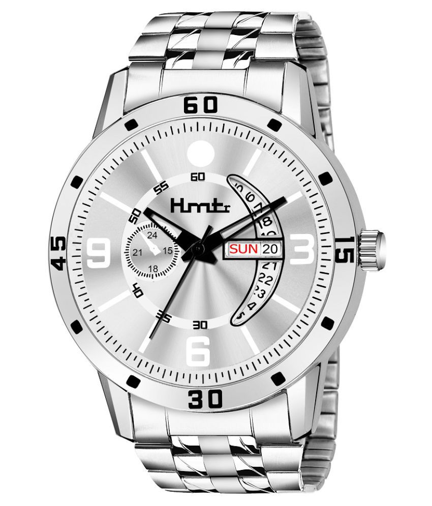 HMTr 7088-SILVER DAY&DATE Stainless Steel Analog Men's Watch