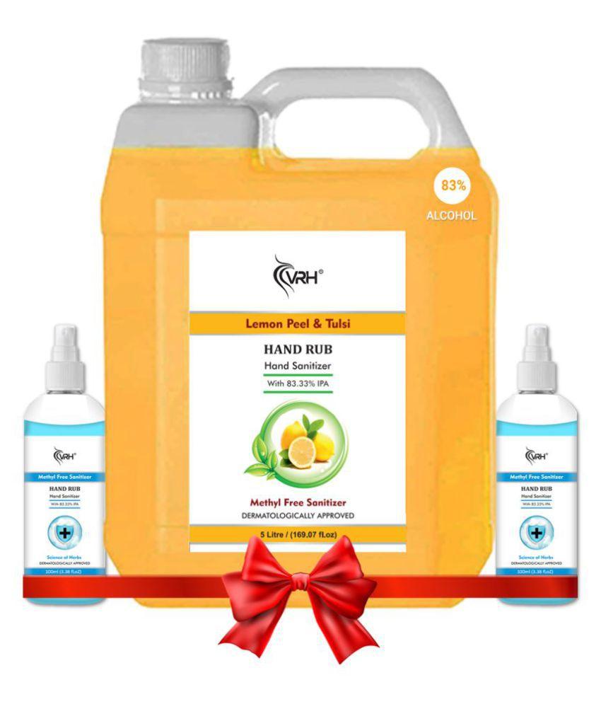 VRH 5 Ltr Lemon & 2X100ml Rose Sanitizers 5200 mL Pack of 3