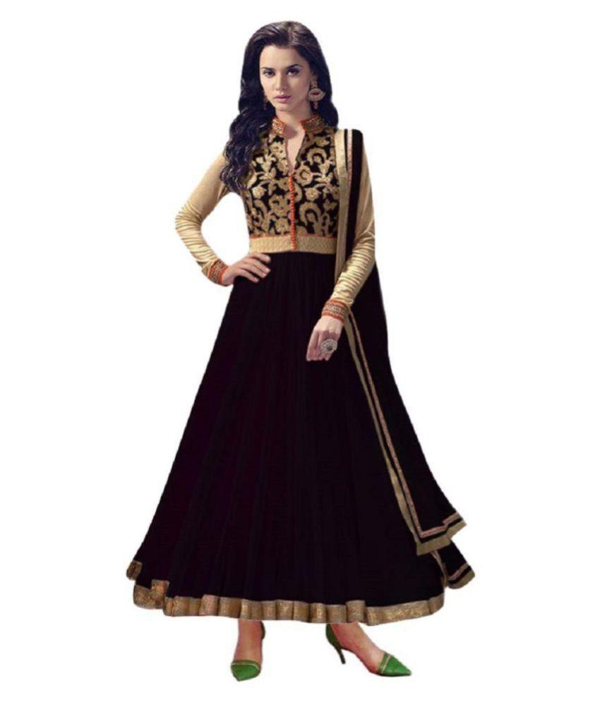 FASHION KREZA Black Net Anarkali Semi-Stitched Suit -