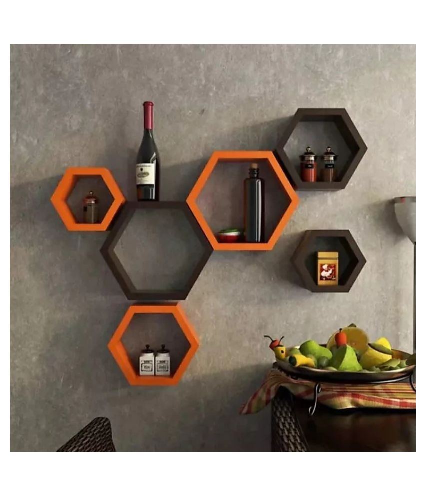 TFS Hexagon Shape Set of 6 Floating Wall Shelves/Wall Racks/MDF (Medium Density Fiber)(Orange  Black)