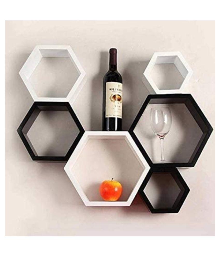 TFS Hexagon Shape Set of 6 Floating Wall Shelves/Wall Racks/MDF (Medium Density Fiber)(Black White)