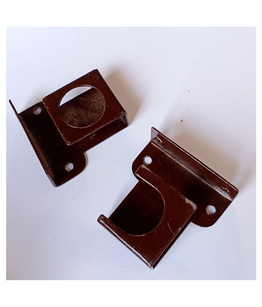 Universal Fittings Curtain Support for Curtain Rod, Ceiling & Wall Mount (MS)(2Pair)