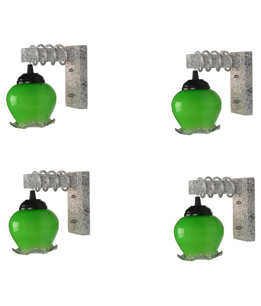 Somil Decorative Wall Lamp Light Glass Wall Light Green - Pack of 4