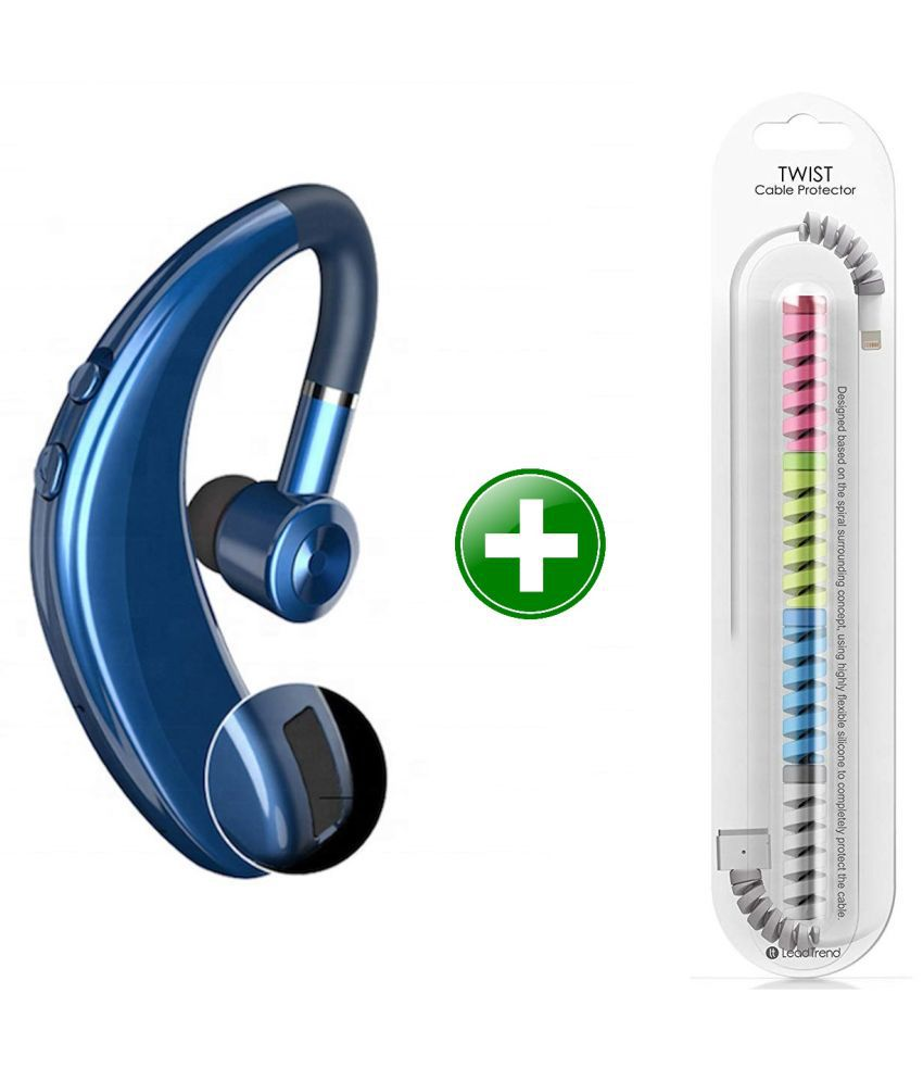 MCSMI S109 Wireless Handsfree calling Bluetooth Headset - Blue (Free Spiral Cable Protector )