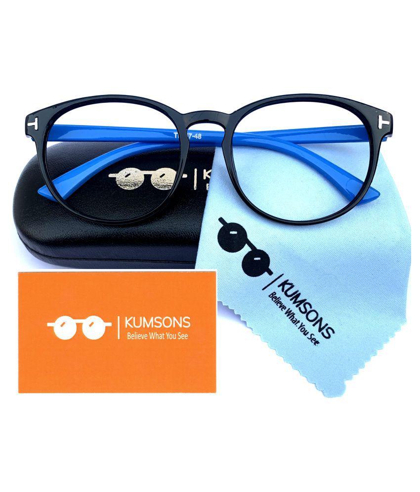 Unisex Blue Cut & Anti-glare Computer Glasses | For Computer Mobile TV | Eye Protection | Zero Power | Standard Size | Brand - Kumsons