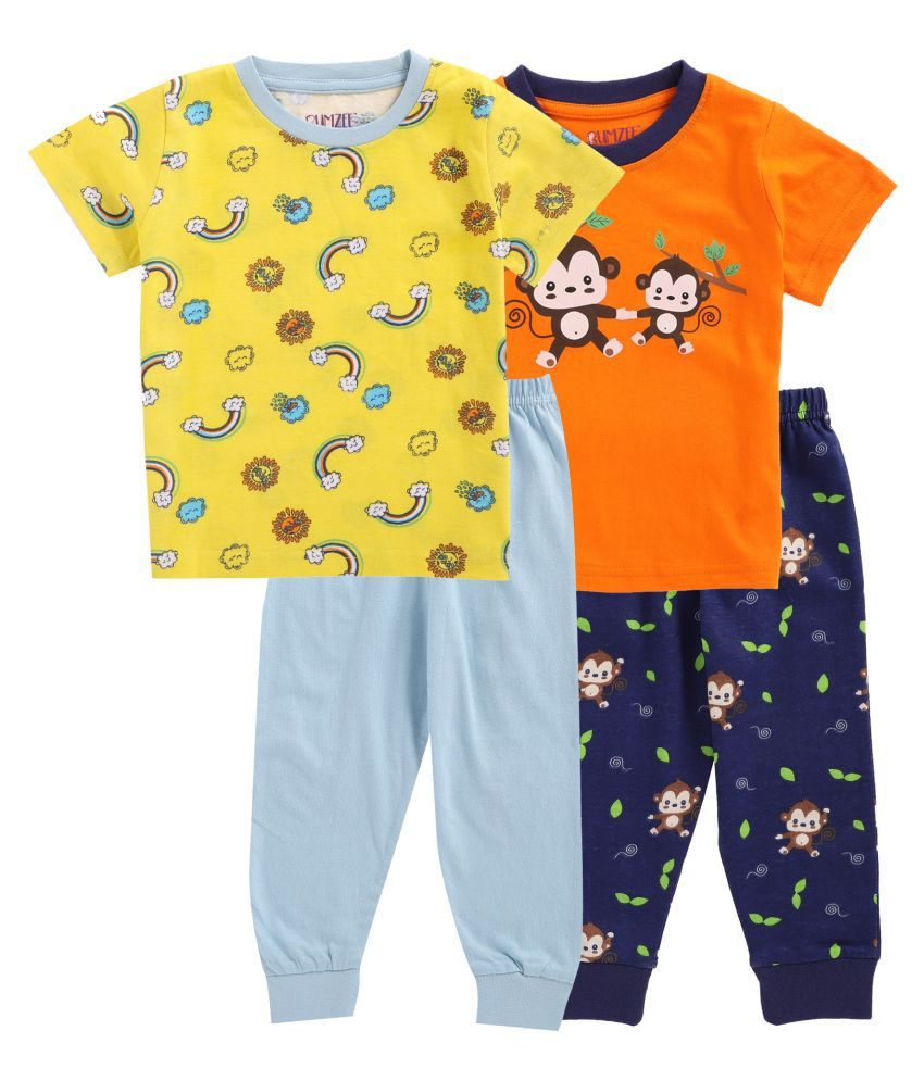 BUMZEE Orange & Yellow Half T-Shirt And Pajama Sets Pack Of 2 Age - 3-6 Months