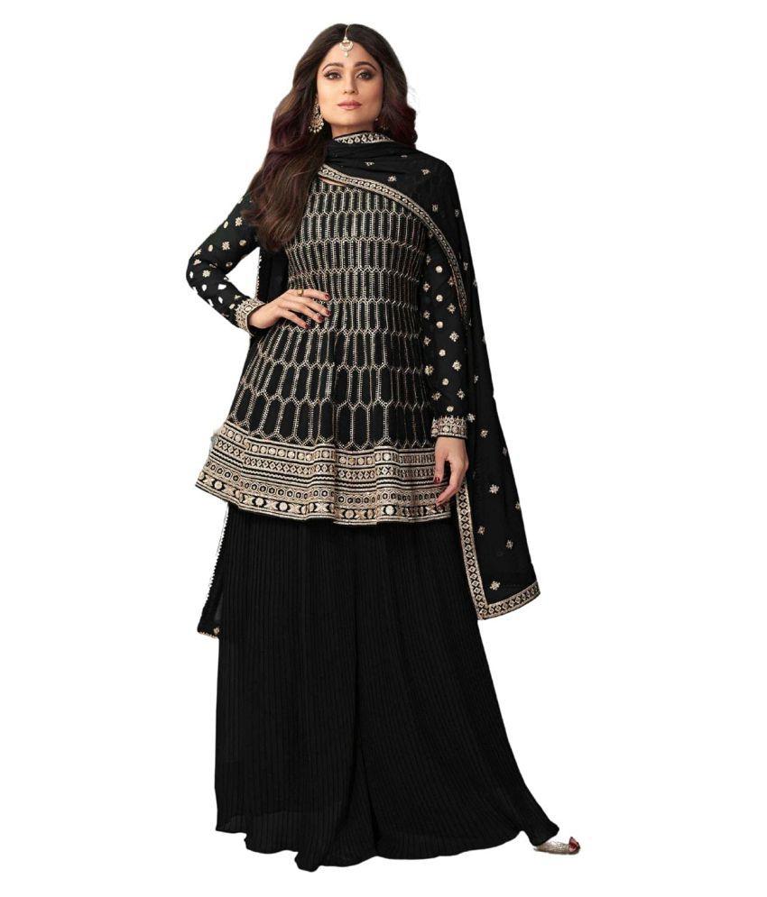 FASHION KREZA Black Georgette Pakistani Semi-Stitched Suit - Single