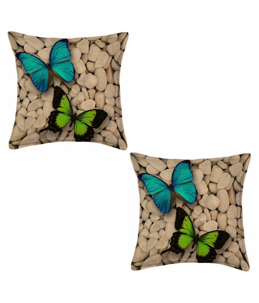 SHAKRIN Set of 2 Jute Cushion Covers 40X40 cm  16X16