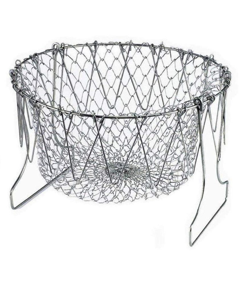 Chef Basket, Yummy Sam Stainless Steel Foldable Steam Strain Fry Basket Strainer Net Kitchen Cooking Tool for Fried Food or Fruits