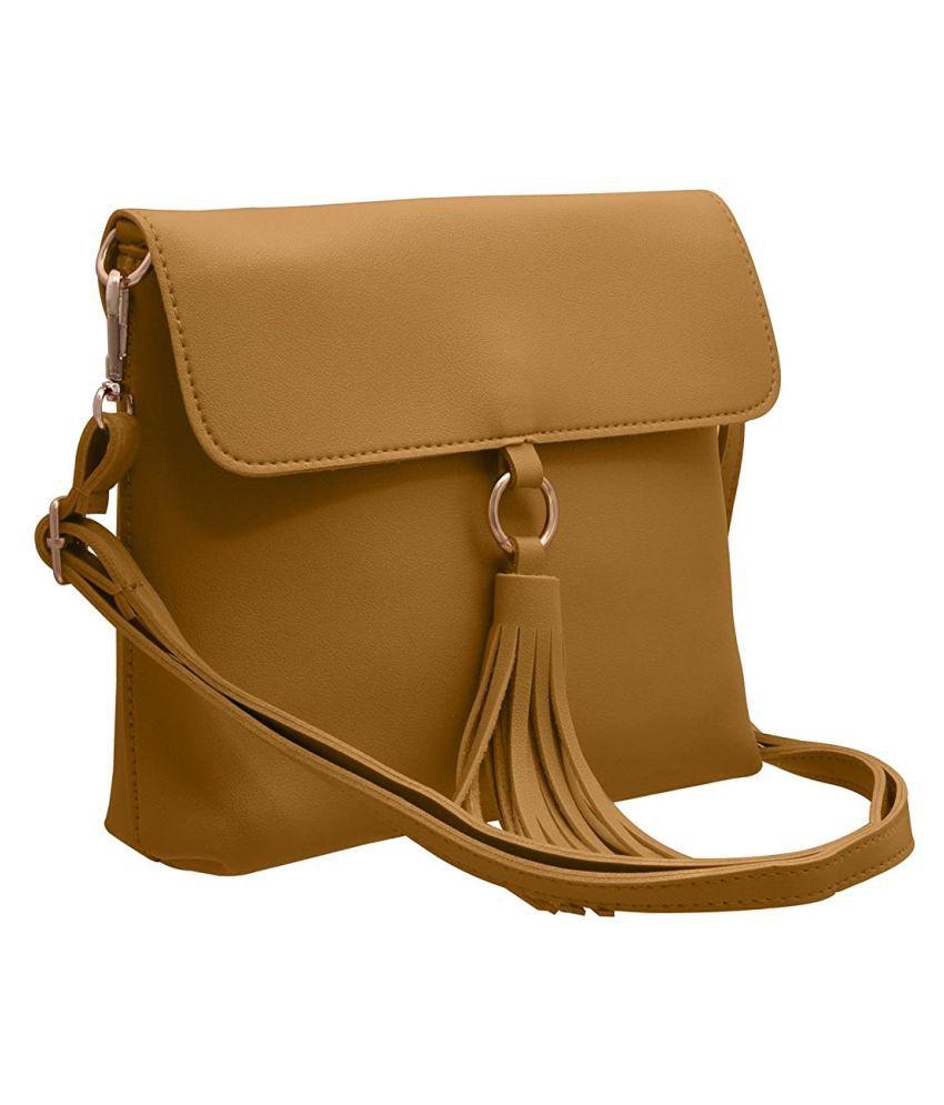 TAP FASHION Yellow Faux Leather Shoulder Bag