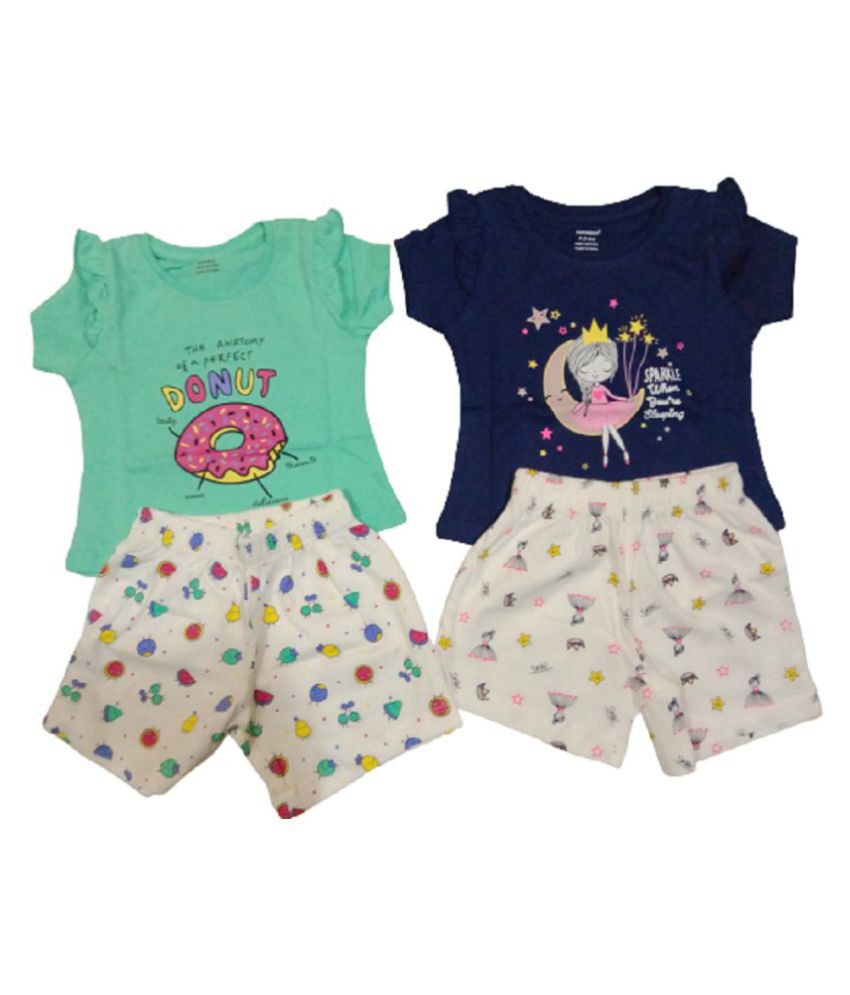 Myra Collections Baby Girls Half Sleeves Top And Shorts  ( Combo of 2 pc)