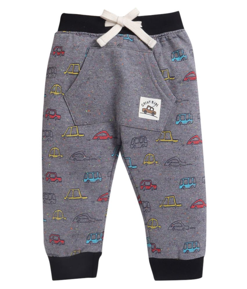 Hopscotch Baby Boy Cotton Vehicle Printed Trackpants in  Color For Ages 18-24 Months (OLL-3674075)