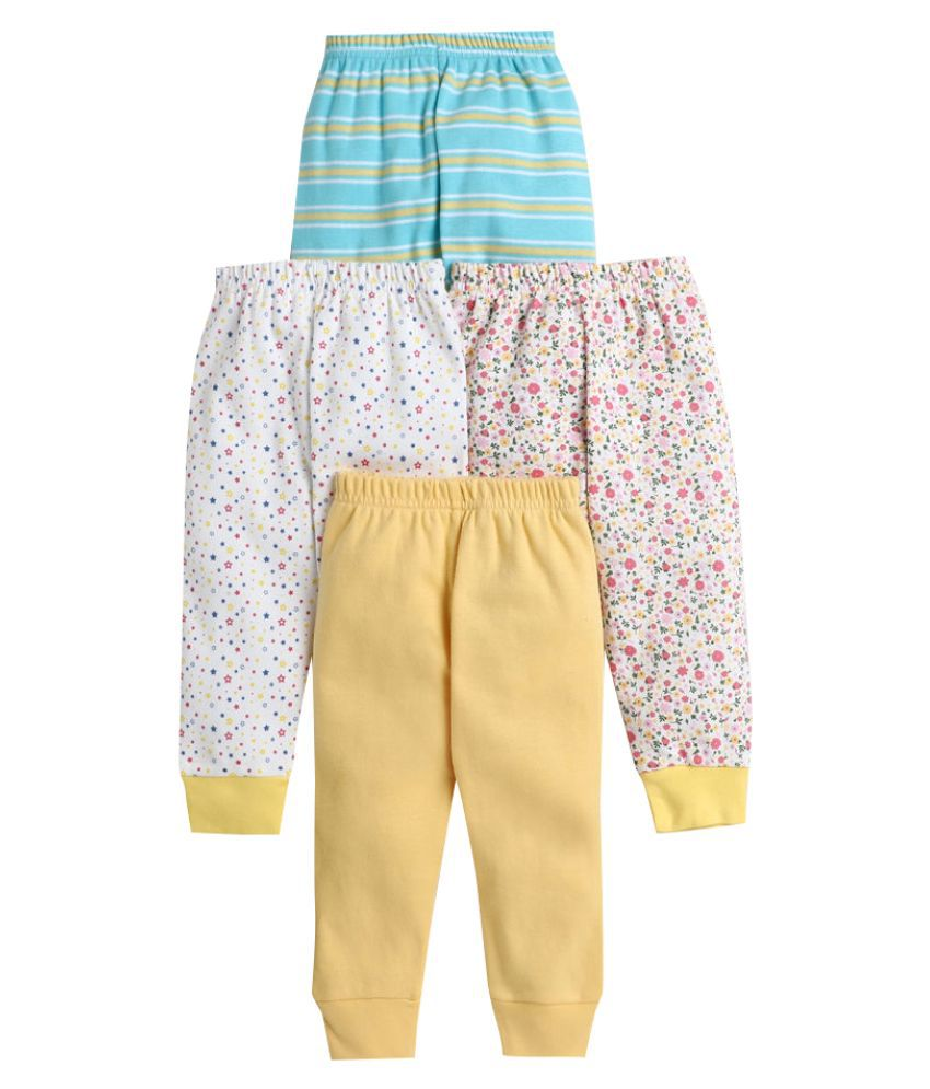 Hopscotch Baby Girl Cotton All Over Printed Pants Pack Of 4 in  Color For Ages 12-18 Months (BUV-3691664)