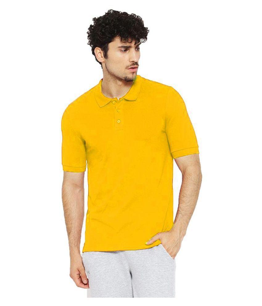 Leotude Cotton Blend Yellow Plain Polo T Shirt