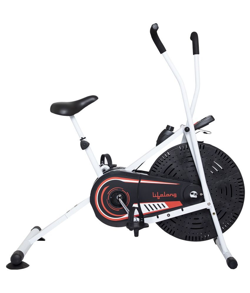 Lifelong LLFCN27 Fit Lite Pro Air Fitness Machine With Moving Handle Dual-Action Stationary Exercise Bike (White)