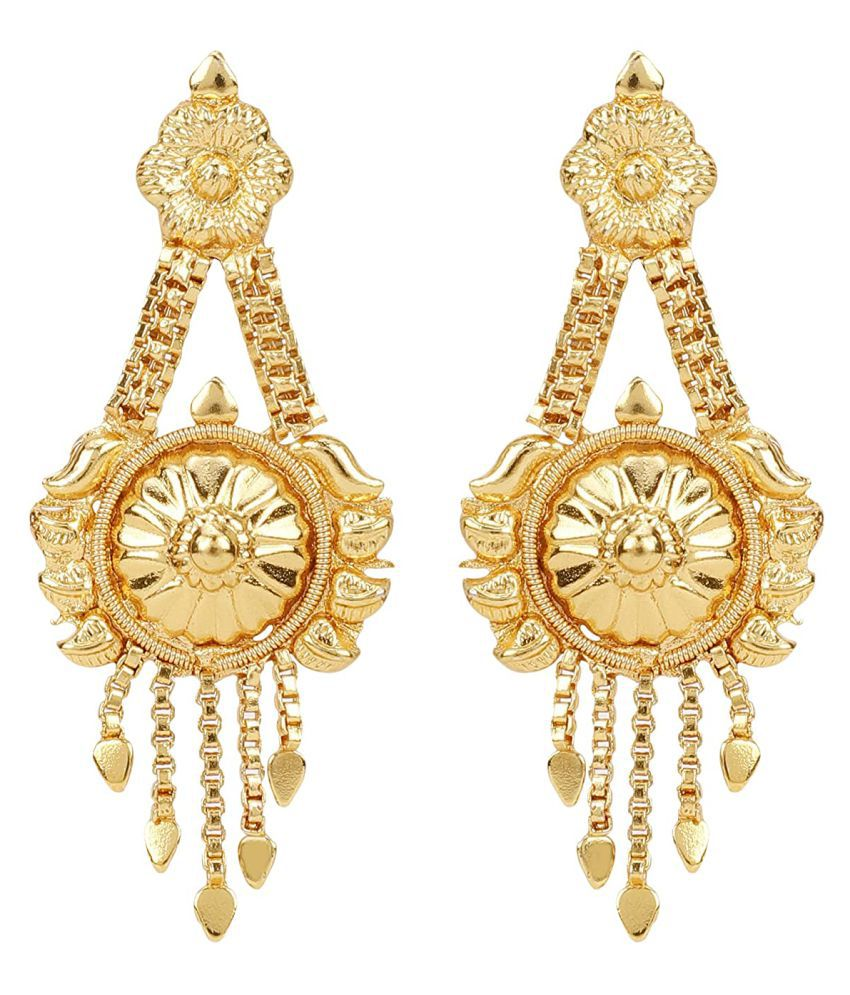 Happy Stoning One Gram Gold Plated South Indian Traditional Style Designer Earrings with Screw Back