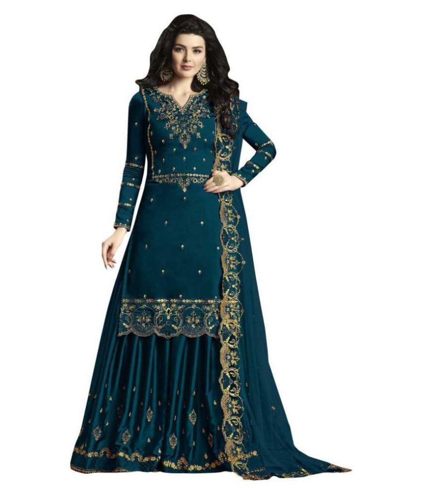 THE 9192 Green Silk Pakistani Semi-Stitched Suit - Single