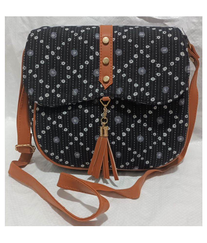ADABHUT Black Faux Leather Sling Bag