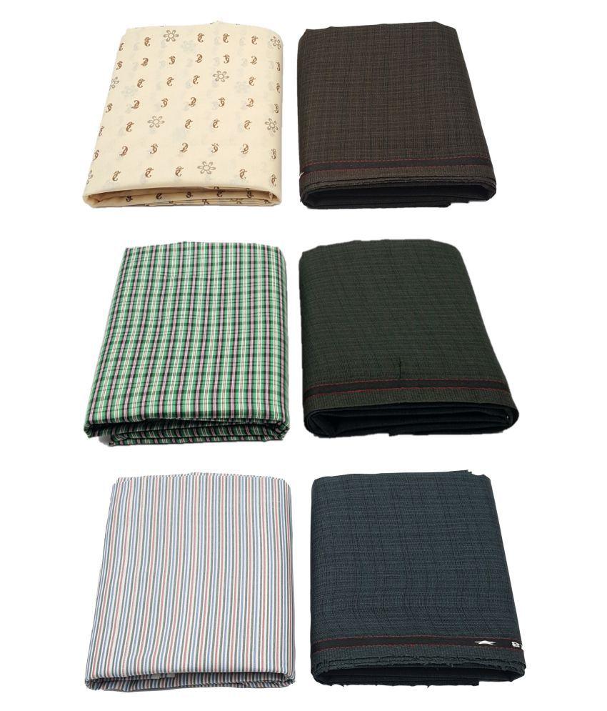 Sane Moda Multi Polyester Unstitched Shirts & Trousers Combo of Pant & Shirt