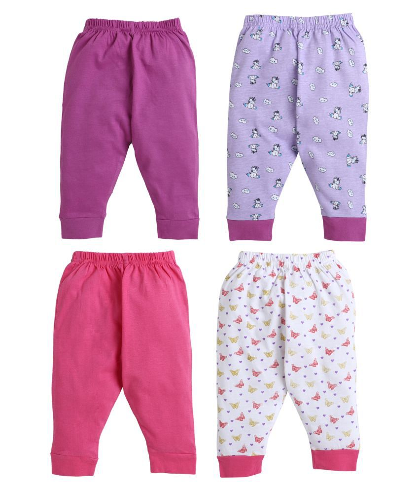 BUMZEE Dark Pink.Purple Full Length Pajamas For Baby Girls Pack Of 4 Age - 12-18 Months