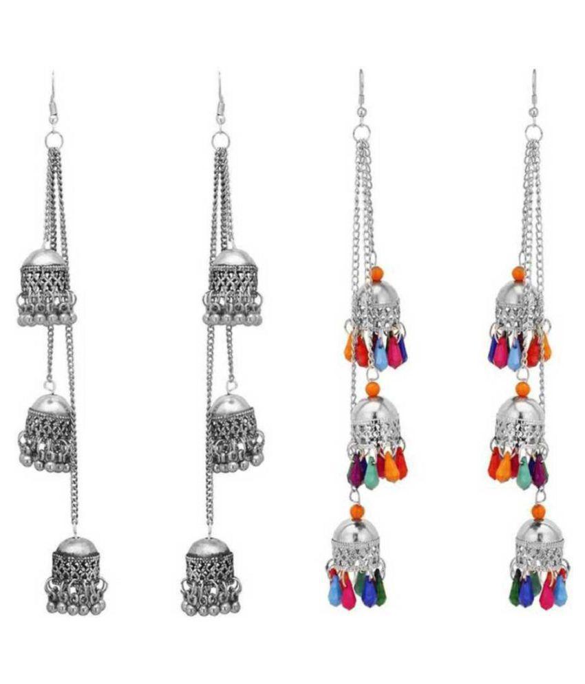 Combo of 2 Designer Afghani Kashmiri Tribal Oxidized Dangle Long Earrings for Women and Girls Metal Dangle Earring, Jhumki Earring Metal Jhumki Earring ()