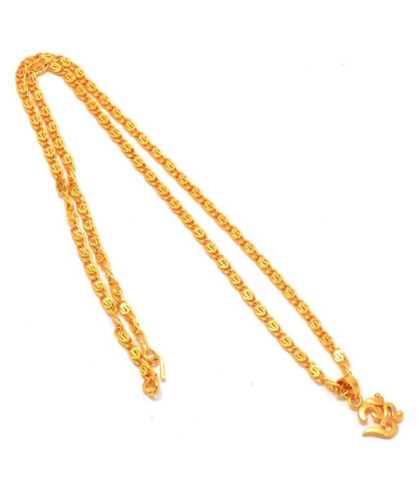 Jewar Mandi Lord Shiva Om Gold Plated Locket/Pendant with Link Chain Daily use for Men, Women & Girls, Boys