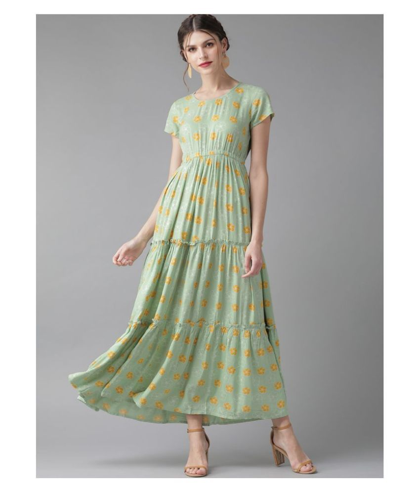 AKS Rayon Green Fit And Flare Dress -
