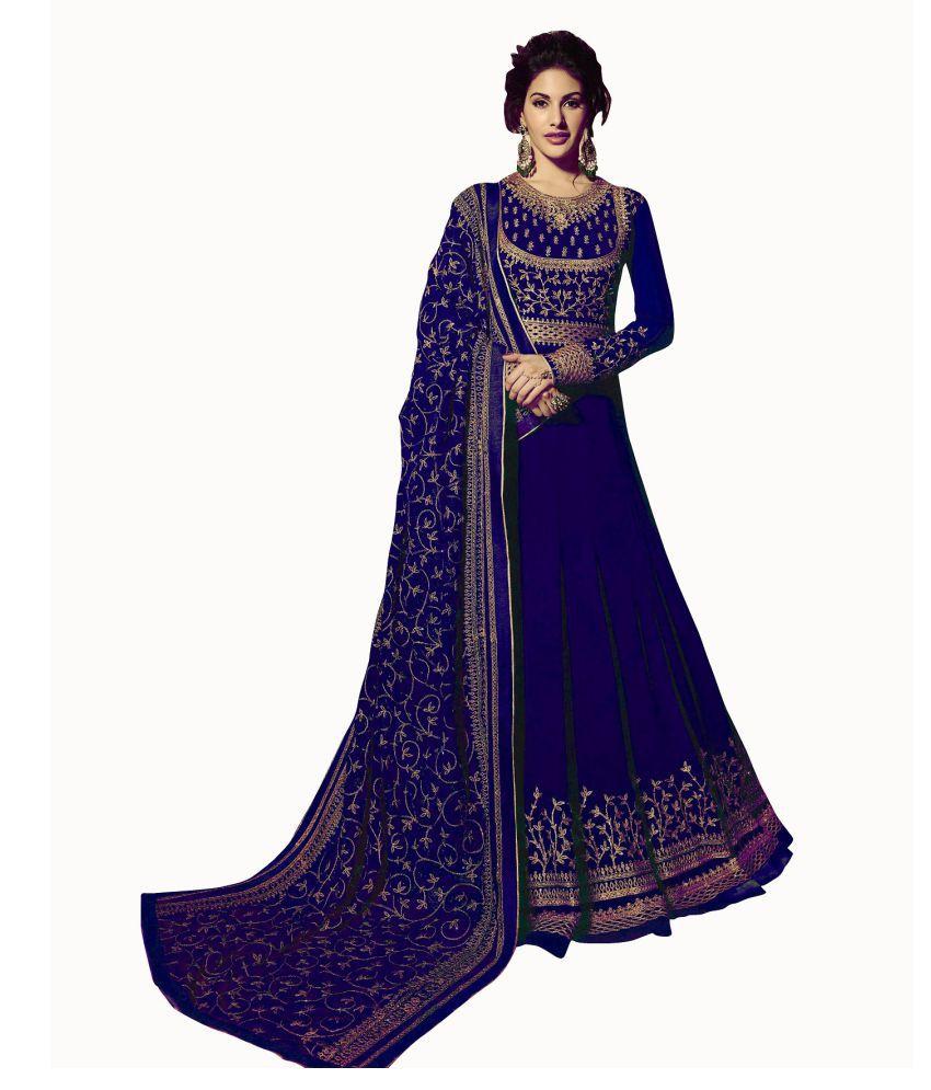 LOOKFIELD Blue Georgette Anarkali Semi-Stitched Suit - Single