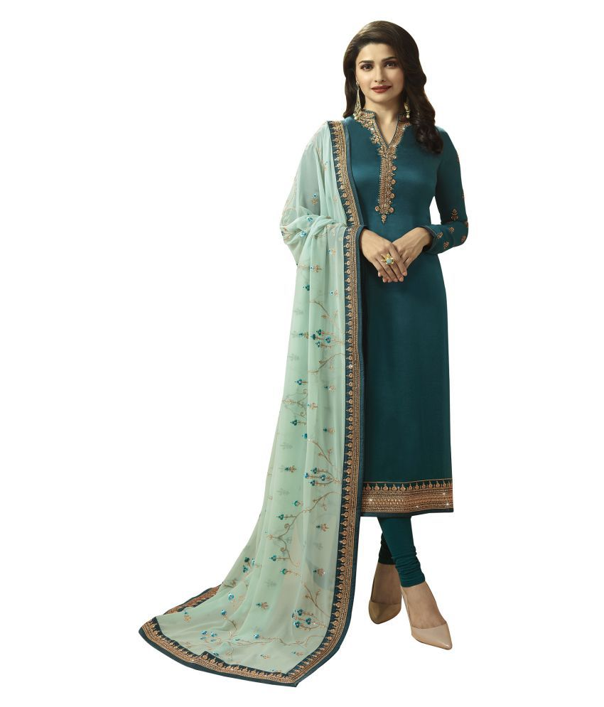 LOOKFIELD Turquoise Georgette Straight Semi-Stitched Suit - Single