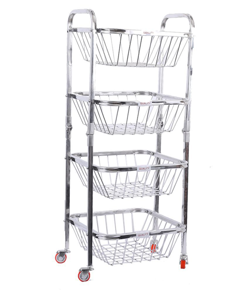 LIMETRO STEEL 4 Layer Stainless Steel Fruit and Vegetable Kitchen Trolley with Wheels Steel Kitchen Trolley (DIY(Do-It-Yourself))