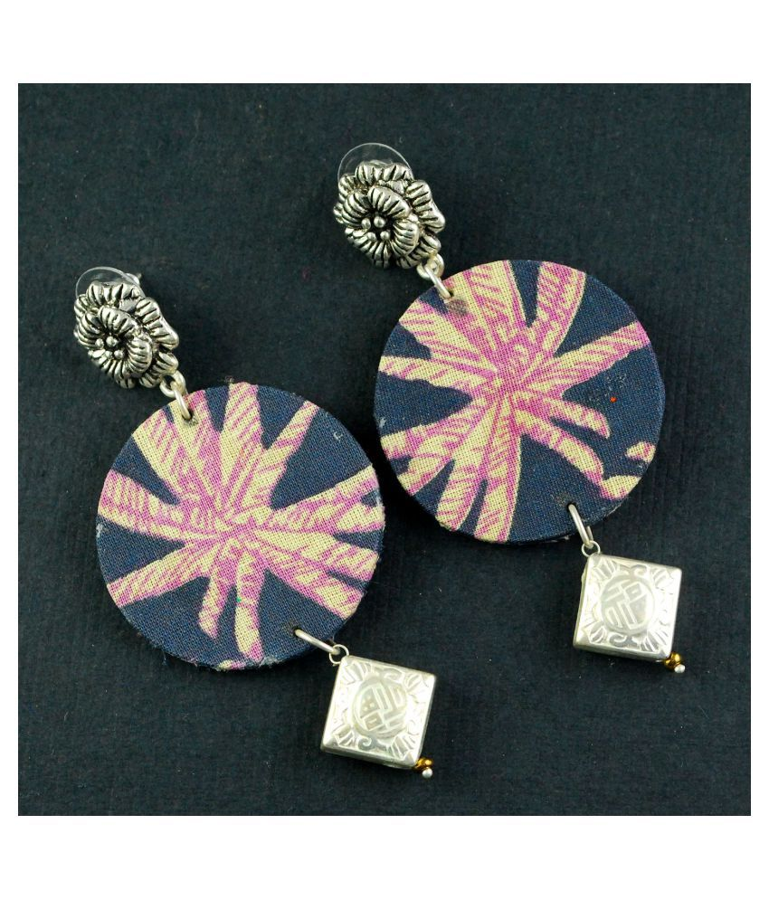 Black And Pink Strip Earring