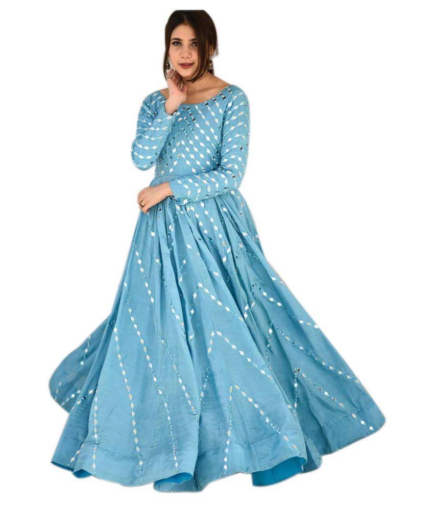 LOOKFIELD Blue Silk Anarkali Semi-Stitched Suit - Single