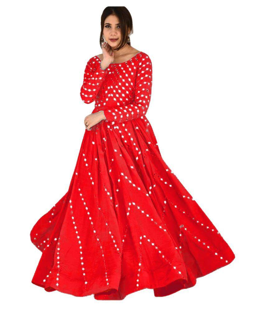 LOOKFIELD Red Silk Anarkali Semi-Stitched Suit - Single