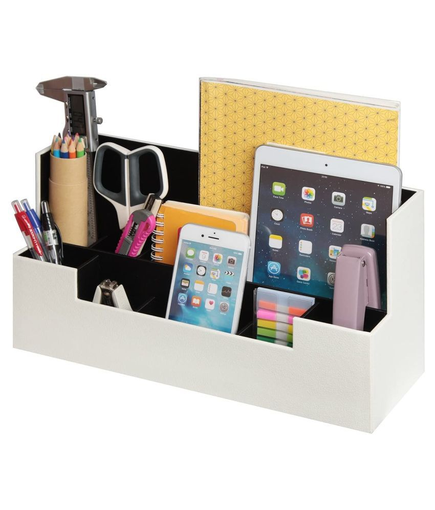 PU Leather Desk Organizer with 9 Compartments, Card/Pen/Tablet/ Mobile Phone Stand Office Supplies Holder Desktop Remote Caddy, Home and Dorm Decor Accessories Storage Box Black (White, 13.4 x 5.1 x 7.1 inches)