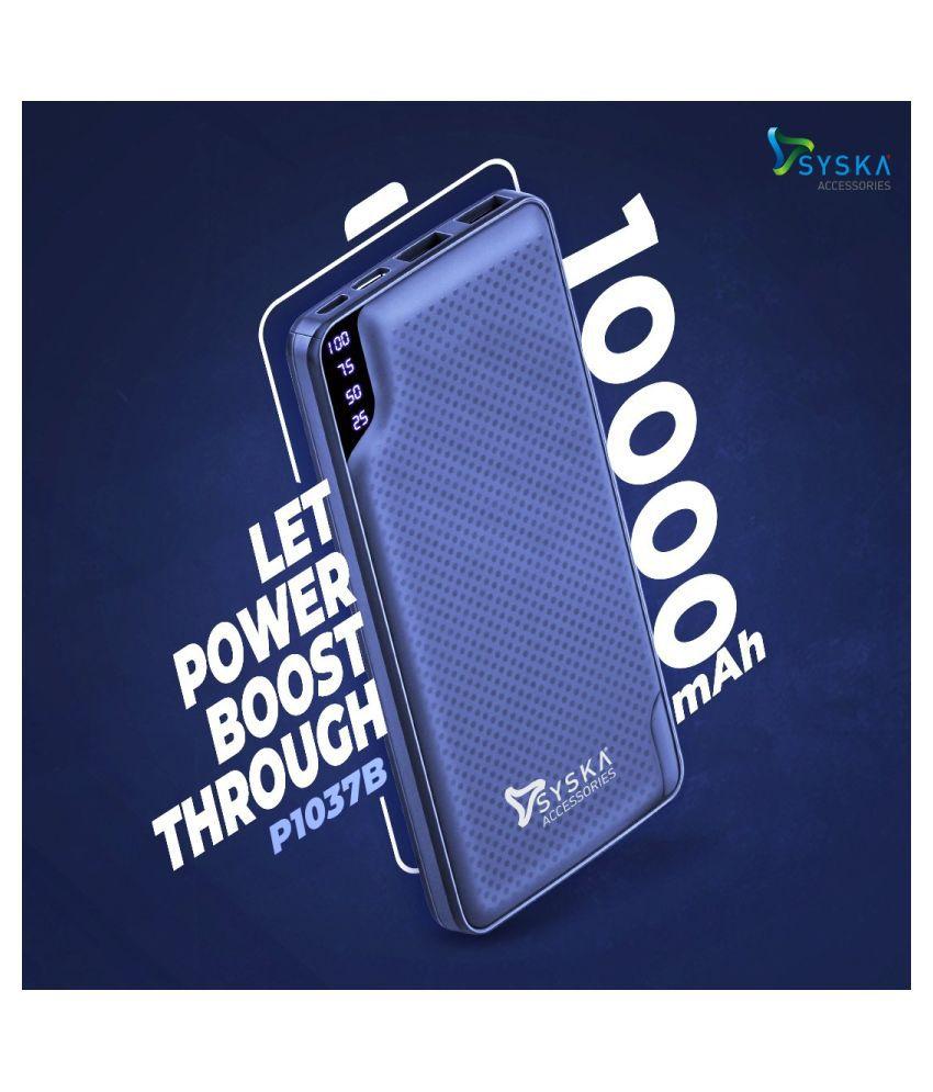 Syska P1037 10000  mAh Li Polymer Power Bank DarkBlue
