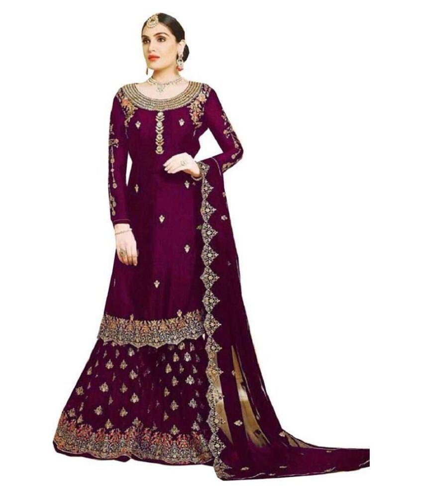 Ethnic Yard Purple Georgette Straight Semi-Stitched Suit - Single