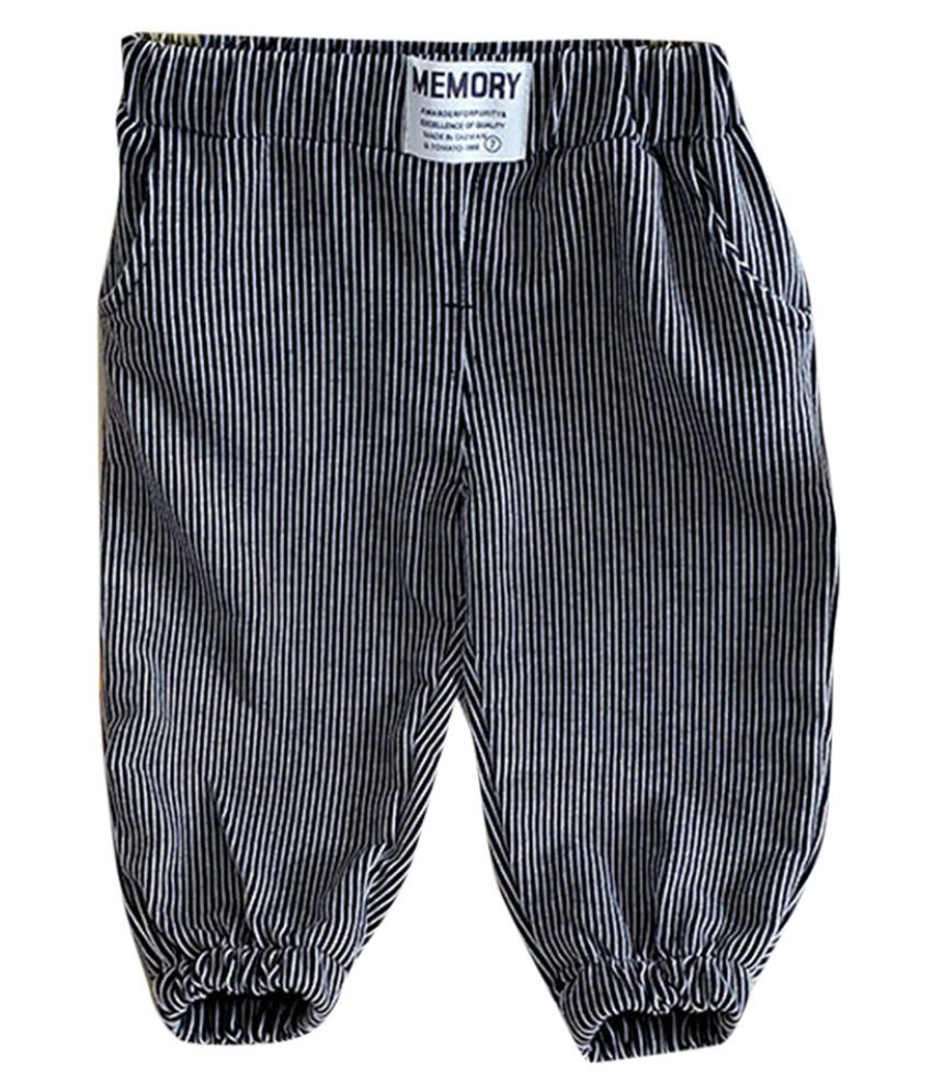 Hopscotch Baby Boys Cotton Stripes Printed Trackpant in Black Color For Ages 12-18 Months (BJX-3705579)