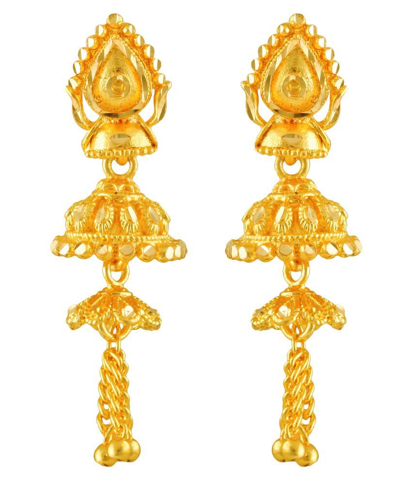 Vighnaharta Trendy Chain Drop Gold Plated Screw back alloy Jhumki Earring for Women and Girls  {VFJ1427ERG}