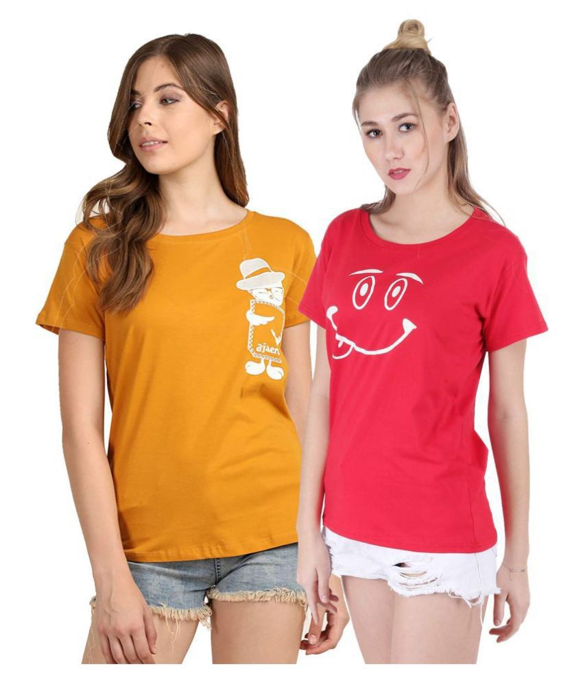 Broadstar Cotton Multi Color T-Shirts - Pack of 2