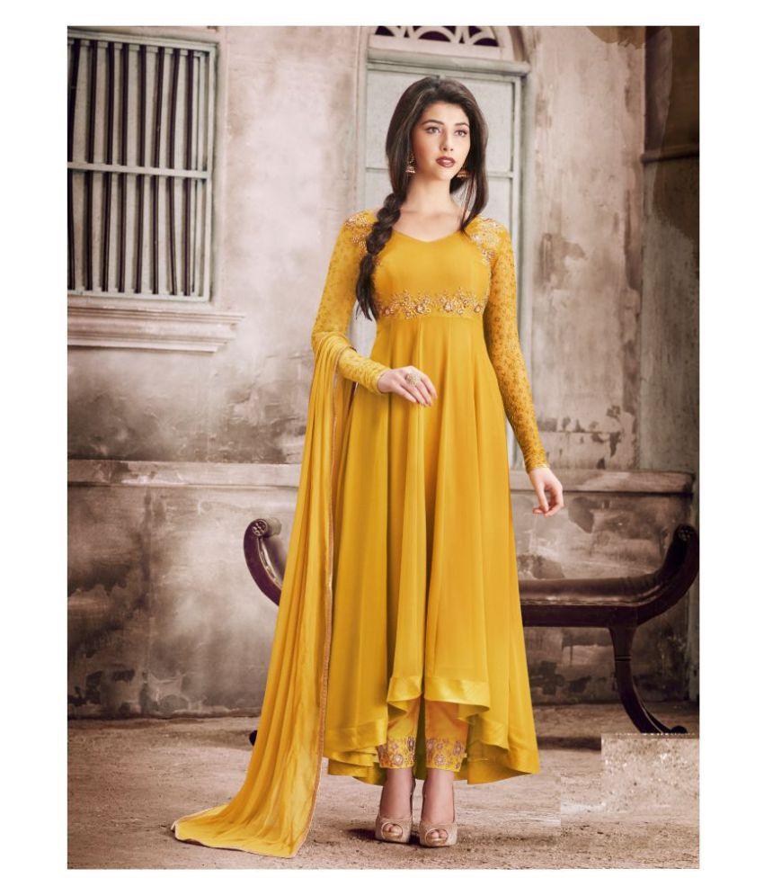RAJESH TEX Yellow Georgette Anarkali Semi-Stitched Suit - Single