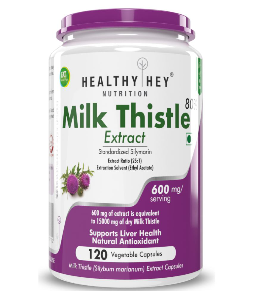 HEALTHYHEY NUTRITION Milk Thistle Extract -120 Vegetable Caps 600 mg Capsule
